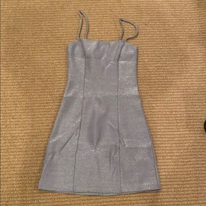Reformation silver sparkle spaghetti slip dress